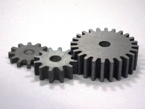 Sample parts made with the patented Ti-Al alloy